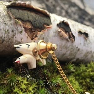 Accessories - Carved Bone Naughty Bear Tie Tack